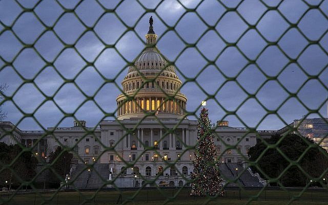 The US Capitol is seen on the first morning of a partial government shutdown, as Democratic and Republican lawmakers are at a standoff with President Donald Trump on spending for his border wall, in Washington, Saturday, Dec. 22, 2018.  (AP/J. Scott Applewhite)