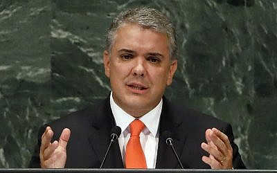 In this September 26, 2018, file photo, Colombia's President Ivan Duque addresses the 73rd session of the United Nations General Assembly, at UN headquarters. (AP Photo/Richard Drew, File)