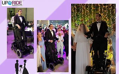 Adir Simantov, an IDF soldier paralyzed in a car accident six years ago, fulfilled his dream of marrying his sweetheart Liat. He us using a device developed by UPnRide Robotics Ltd. that helps people paralyzed from their necks down to stand up and be mobile (UPnRIDE)