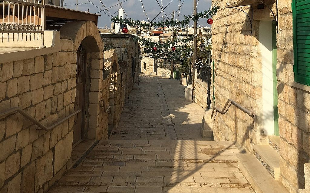 The old stone pathways of Al-Zaqaq street. (Federico Maccioni/ Times of Israel)