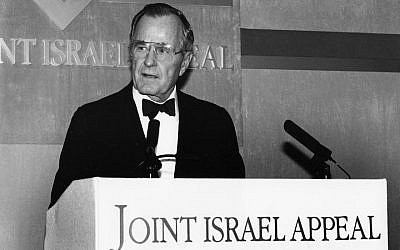 President George H.W. Bush speaking in 1993. (Jewish Chronicle/Heritage Images/Getty Images via JTA)