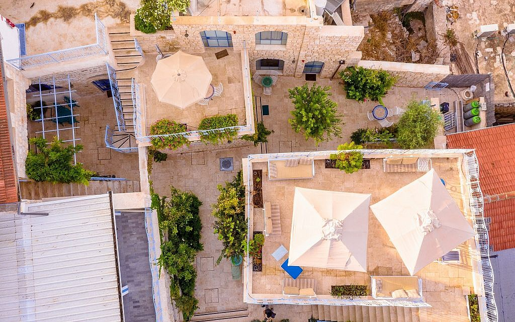 An aerial view The Way Inn, Genine and Roni Barel's charming set of guest rooms in Safed's Old City (Courtesy Jordan Polevoy)