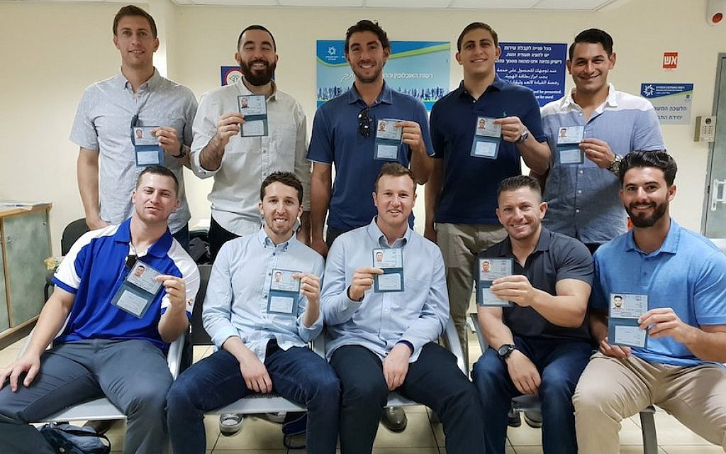 Ten baseball players are moving to Israel to represent the Jewish state in the 2020 Olympics. (Israel Baseball/via JTA)