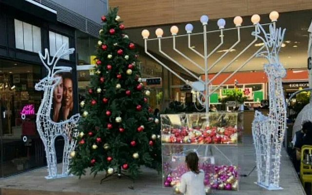 A display in the Ashdod Big Fashion Mall complex including a Christmas tree. (Courtesy)