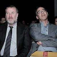 Attorney General Avichai Mandelblit, left, and State Prosecutor Shai Nitzan. (Tomer Neuberg/ Flash90)