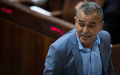 Joint (Arab) List MK Jamal Zahalka in the Knesset plenum on July 26, 2017. (Hadas Parush/Flash90)