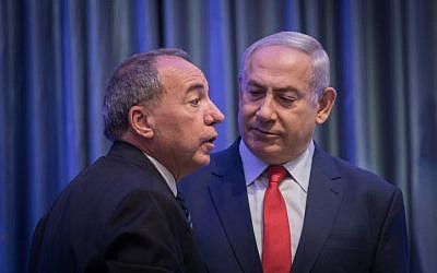 Prime Minister Benjamin Netanyahu with CEO of the Foreign Ministry Yuval Rotem, at the International Conference on Digital Diplomacy at the Foreign Ministry in Jerusalem, on December 7, 2017. (Hadas Parush/Flash90)