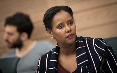 Blue and White MK Pnina Tamano-Shata attends a Knesset committee meeting on July 12, 2018. (Yonatan Sindel/Flash90)