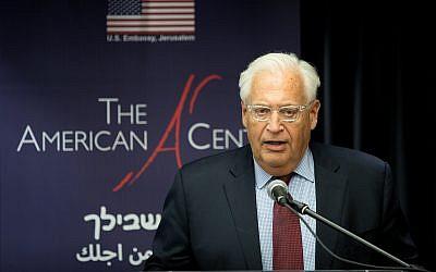 US Ambassador to Israel David Friedman speaks at an event in Jerusalem on October 16, 2018. (Noam Revkin Fenton/Flash90)