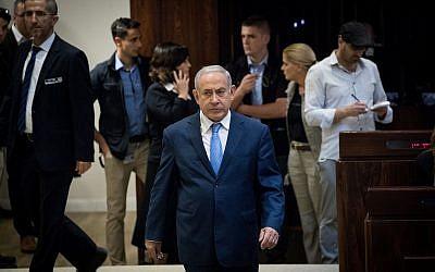Prime Minister Benjamin Netanyahu in the Knesset on November 21, 2018 (Yonatan Sindel/Flash90)