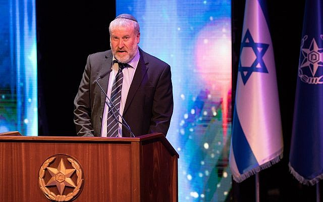 Attorney General Avichai Mandelblit speaks during a farewell ceremony for outgoing Israel Police chief Roni Alsheikh, on November 29, 2018. (Yonatan Sindel/Flash90)