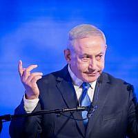 Prime Minister Benjamin Netanyahu at a Likud event in Kfar Maccabiah, Ramat Gan, on December 2, 2018. (Miriam Alster/Flash90)