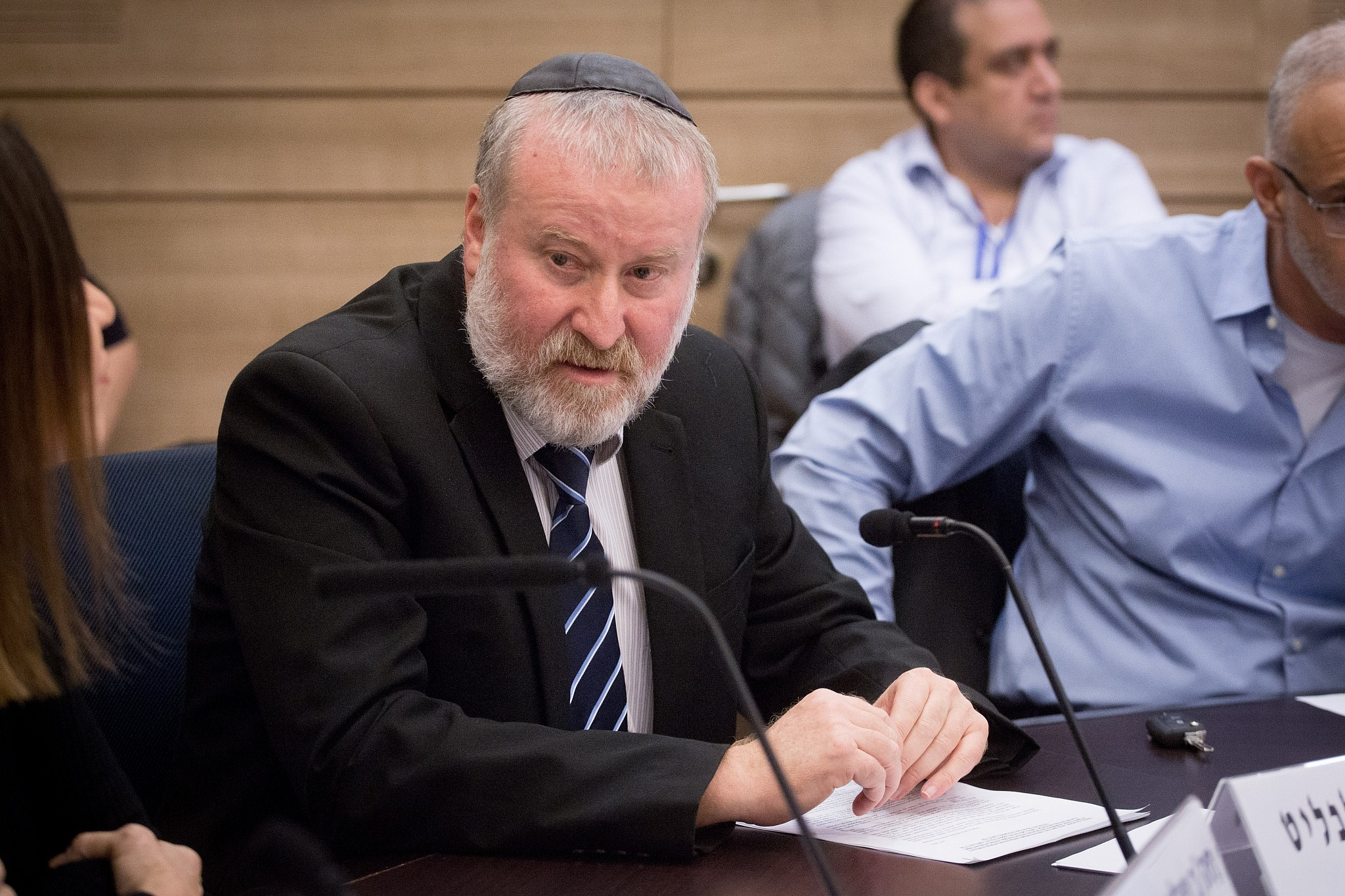 Attorney General Avichai Mandelblit attends a State Control Committee meeting in the Knesset