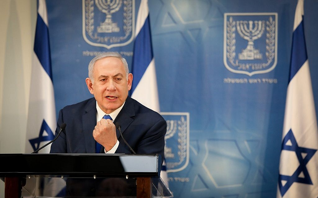 Prime Minister Benjamin Netanyahu speaks as he holds a press conference with IDF Chief of Staff Gadi Eisenkott at the defense headquarters in Tel Aviv, on December 4, 2018. (Noam Revkin Fenton/Flash90)