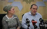 The parents of the pregnant Israeli woman critically injured in a terror attack in the West Bank speak to reporters at Shaarei Zedek hospital on December 10, 2018. (Yonatan Sindel/FLASH90)