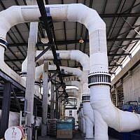 The Sorek Desalination Plant, November 22, 2018. (Isaac Harari/Flash90)