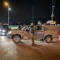 Road blocks in the West Bank following a terror attack where two Israeli soldiers were shot by Palestinian terrorists, and two more seriously injured, December 13, 2018. (Gershon Elinson/FLASH90)