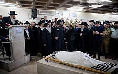 Rabbi Eliyahu Merav speaks during funeral of his stepson Yosef Cohen on Demcember 14, 2018. Two soldiers, Yosef Cohen and Yuval Mor Yosef, were killed in a shooting terror attack at the entrance to the Israeli settlement of Givat Assaf, in the West Bank, the day before. Photo by Yonatan Sindel/Flash90