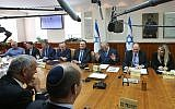 Prime Minister Benjamin Netanyahu leads the weekly cabinet meeting at the Prime Minister's Office in Jerusalem on December 16, 2018. (Marc Israel Sellem/POOL)