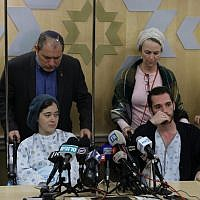 Shira and Amichai Ish-Ran, both injured on December 9, 2018 when a Palestinian terrorist opened fire on Israelis near the settlement of Ofra, hold a press conference at the Shaare Zedek hospital in Jerusalem on December 16, 2018. (Yonatan Sindel/FLASH90)