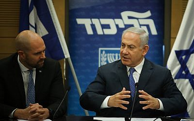 Benjamin Netanyahu leads a Likud faction meeting in the Knesset on December 17, 2018. (Hadas Parush/Flash90)