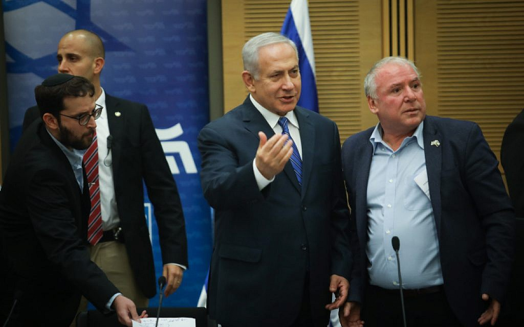 Prime Minister Benjamin Netanyahu leads a Likud faction meeting in the Kneeset in Jerusalem on December 17, 2018. (Hadas Parush/Flash90)