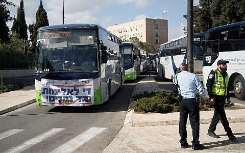 Kavim bus drivers demonstrate against violence directed at them near the Knesset, in Jerusalem on December 17, 2018. (Yonatan Sindel/Flash90)