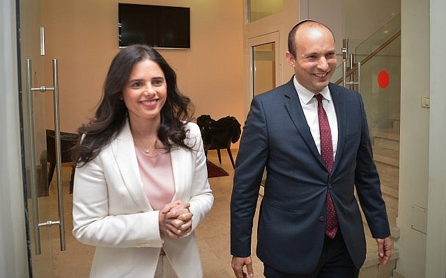 Naftali Bennett and Ayelet Shaked seen after a press conference in Tel Aviv on December 29, 2018. (Yossi Zeliger/Flash90)