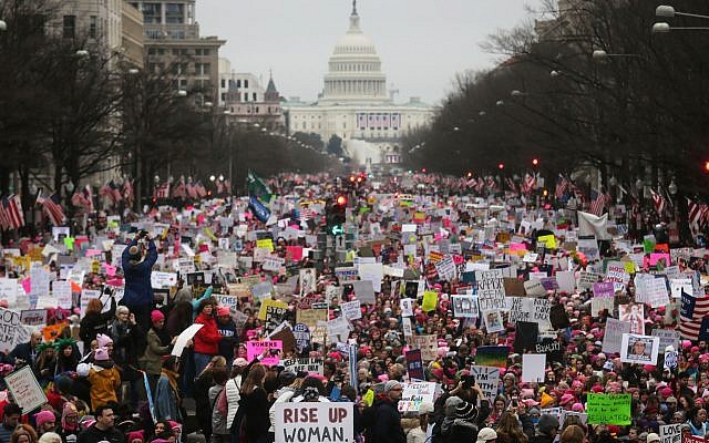 Protesters walk during the Women's March on Washington, January 21, 2017. (Mario Tama/Getty Images via JTA)