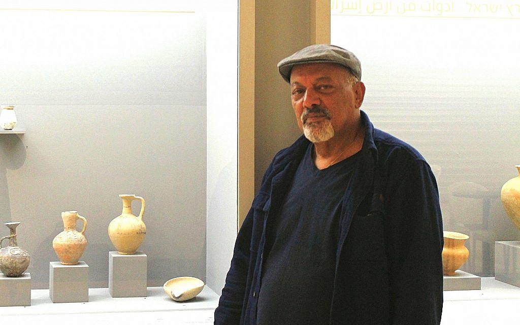 Staff Officer of Archeology of the Civil Administration of Judea and Samaria Area Hananya Hezmi at the Jerusalem-based Bible Lands Museum's new Finds Gone Astray exhibit. (Amanda Borschel-Dan/Times of Israel)