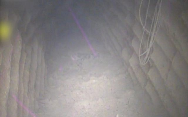 The interior of what Israel says is an attack tunnel dug by the Hezbollah terror group that crossed into Israeli territory from south of the Lebanese village of Kafr Kila, December 4, 2018. (Israel Defense Forces)