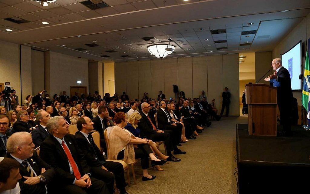 Benjamin Netanyahu speaking to Jewish leaders in Rio de Janeiro on Sunday December 30, 2018. (Avi Ohayon/GPO)