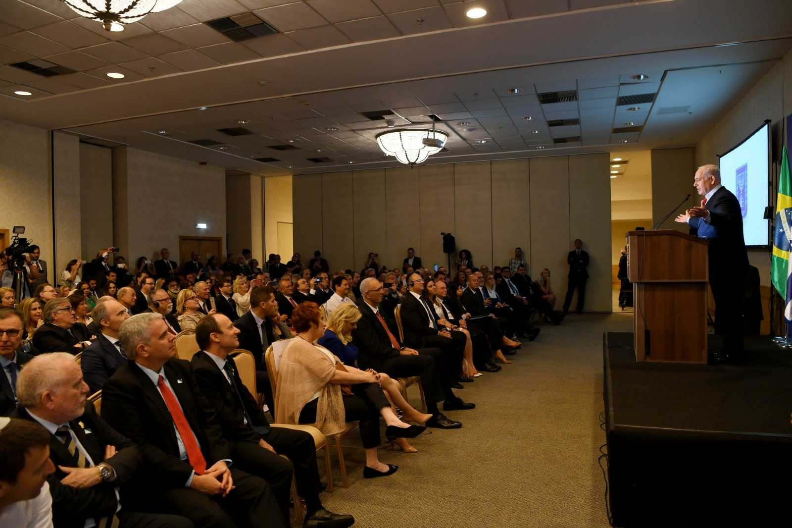 Benjamin Netanyahu speaking to Jewish leaders in Rio de Janeiro on Sunday