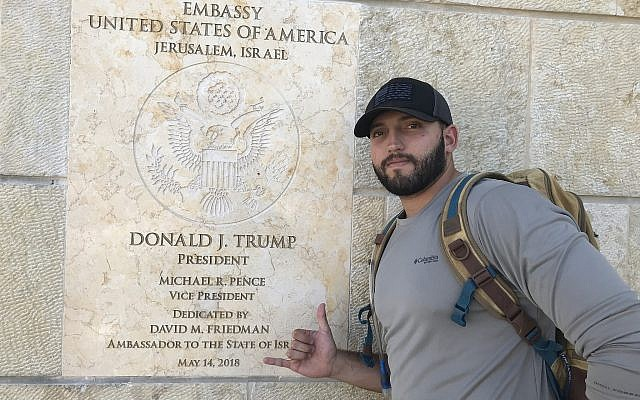 Zachary Zeff in front of the new United States Embassy in Jerusalem. (Courtesy)