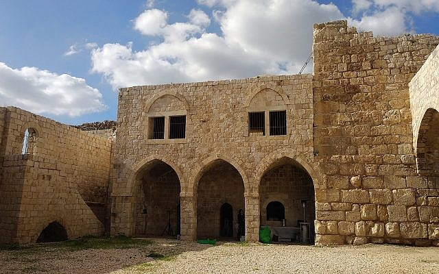 The interior courtyard of the Migdal Tzedek fortress, near Rosh HaAyin, on December 11, 2018. (Melanie Lidman/Times of Israel)