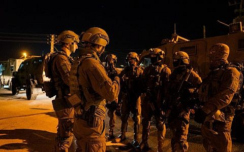 IDF soldiers operating in the West Bank, December 14, 2018 (IDF Spokesperson's Unit)