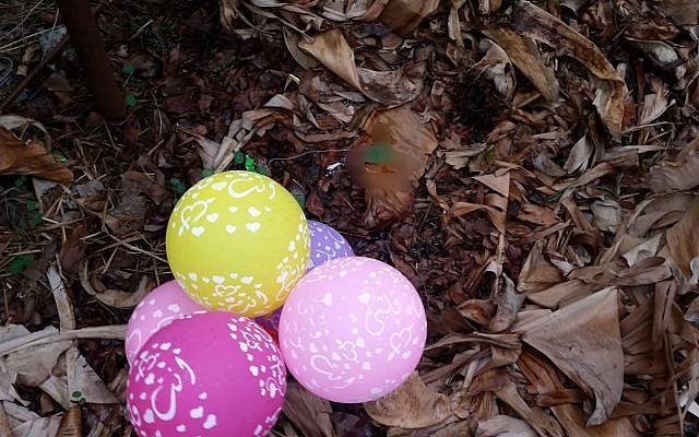 Suspected incendiary balloons discovered in community close to the Gaza border, December 28, 2018 (Police spokesperson's unit)