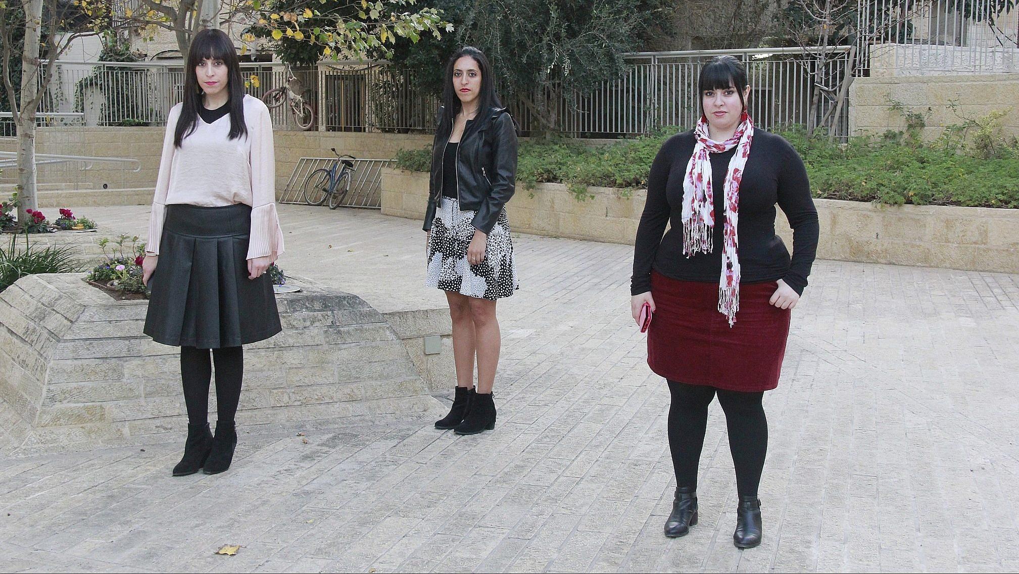 (L-R) Ellie Sapper, Nicole Meyer and Dassi Erlich in Jerusalem on November 29, 2018. (Jacob Magid/Times of Israel)
