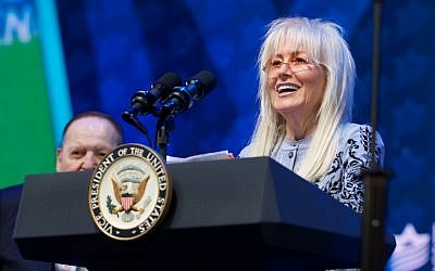 Miriam Adelson speaks at the Israeli-American Council conference in Hollywood, Florida, November 30, 2018. (Perry Bindelglass/Israeli-American Council/via JTA)