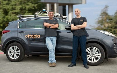 Ottopia's co-founders, Leon Altarac (CTO) and Amit Rosenzweig (CEO) with the company's R&D car. (AP/Business Wire)