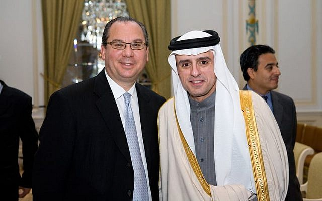 Rabbi Marc Schneier (left) with Saudi Foreign Minister Adel al-Jubeir (courtesy The Foundation for Ethnic Understanding)