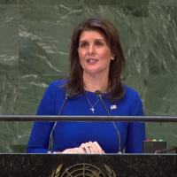 US Ambassador to the UN Nikki Haley speaks at a General Assembly debate, December 6, 2018 (screen shot UN web tv)
