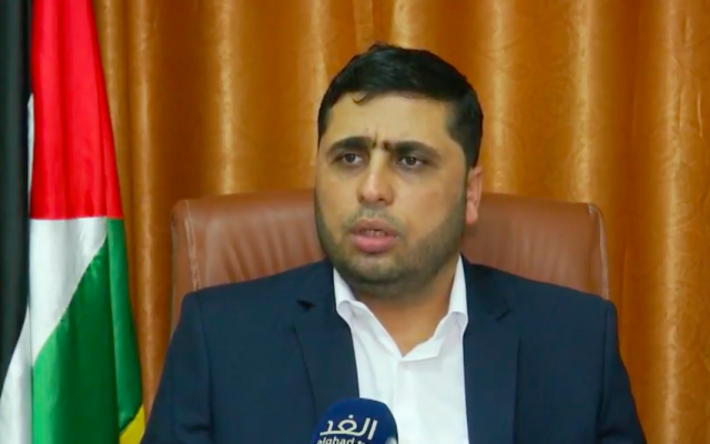 Hamas spokesman Abdelatif al-Qanou speaking to an Arabic television station on October 7, 2018. (Screenshot: Youtube)