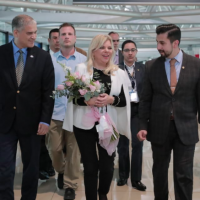 Sara Netanyahu is welcomed to Guatemala by Israel's Ambassador Mattanya Cohen, left, and Guatemala's Deputy Foreign Minister Jairo Estrada, right. (Twitter: AGN_noticias)