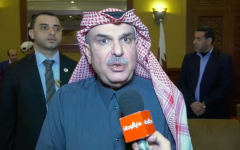 Mohammad al-Emadi, Qatar's point man for Gaza, speaking to a Palestinian news outlet in the coastal enclave. (Screenshot: YouTube)