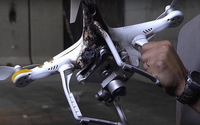 A drone that was grounded using Rafael's 'Drone Dome' system. (Screen capture: YouTube)