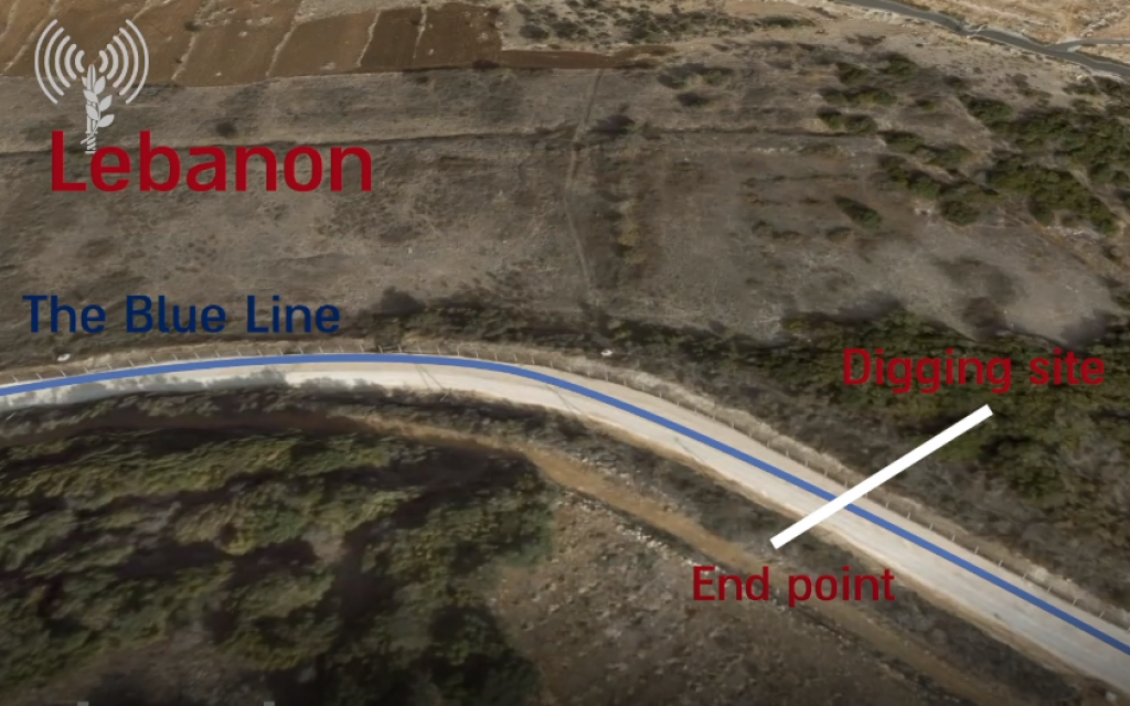 A screenshot from a video released by the Israel Defense Forces on December 19, 2018, shows the route of a cross-border attack tunnel it says was dug the Lebanese terror group Hezbollah. (Israel Defense Forces)