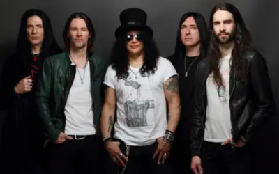 Guitarist Slash, (center), will play in Tel Aviv on July 9, 2019 with his band, Slash featuring Myles Kennedy and The Conspirators (Courtesy PR)