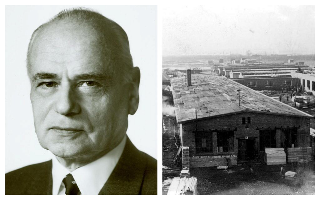 Dr. Kurt Hamann, left, and one of the buildings at Auschwitz insured by the Victoria Insurance Company, of which he was chair from 1935 to 1968. (Courtesy Victoria/ERGO; Yad Vashem)