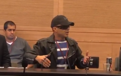 Walid, a Palestinian arrested by the PA for collaborating with Israel, at a Knesset discussion on December 11, 2018. (Screenshot: YouTube)